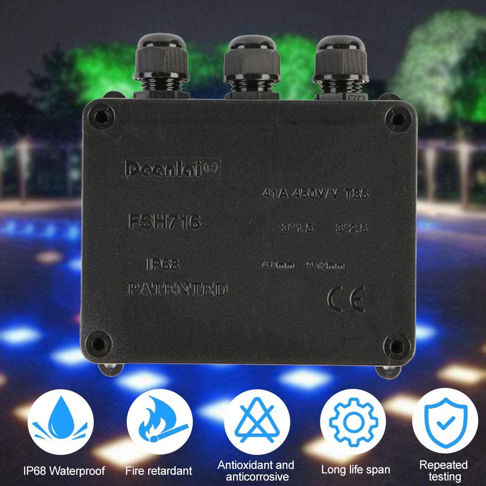 Junction Box IP68 Waterproof 3 Way Cable Connectors Outdoor//External Electrical Junction Box for Cable 4-8mm//9-12mm