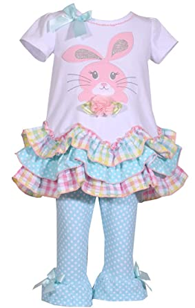 f0232f20 Amazon.com: Baby Girls Easter Outfit Aqua Bunny: Clothing