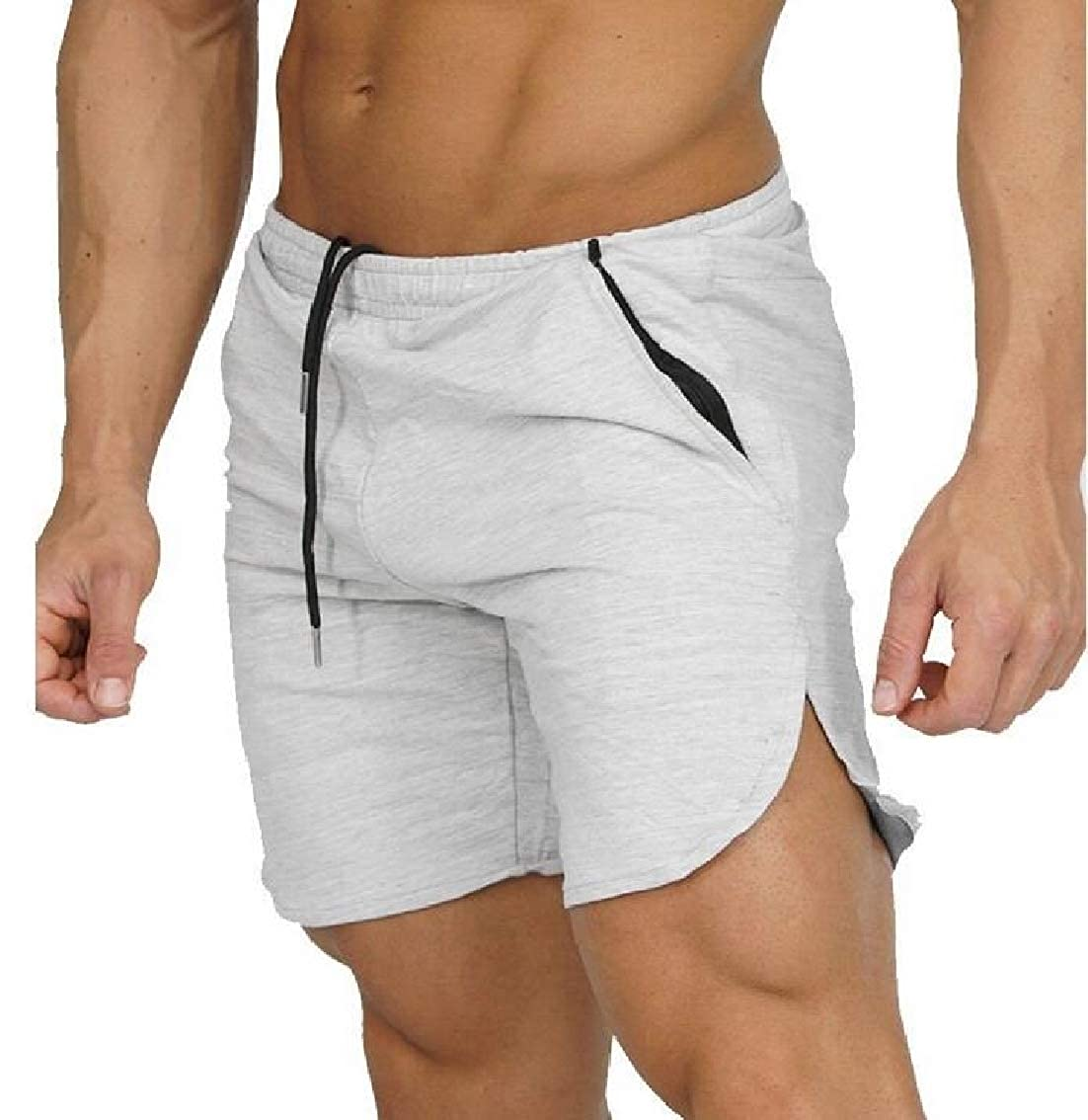 WAWAYA Mens Active Zip-Up Fashion Drawstring Elastic Waist Gym Shorts