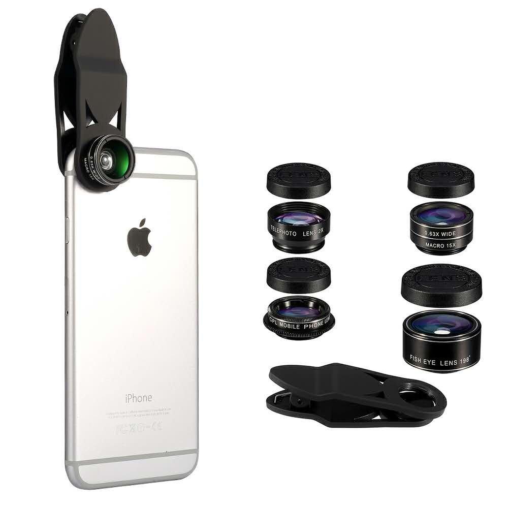 HD Phone Camera Lens Kit, Flykul Universal 5 In 1 Camera Phone Lens Phone Lens Kit - Fisheye Lens, 2 in 1 Macro Lens & Wide Angle, CPL Lens, Telephoto Lens, Universal Clip Lens Kit for Smart Phone