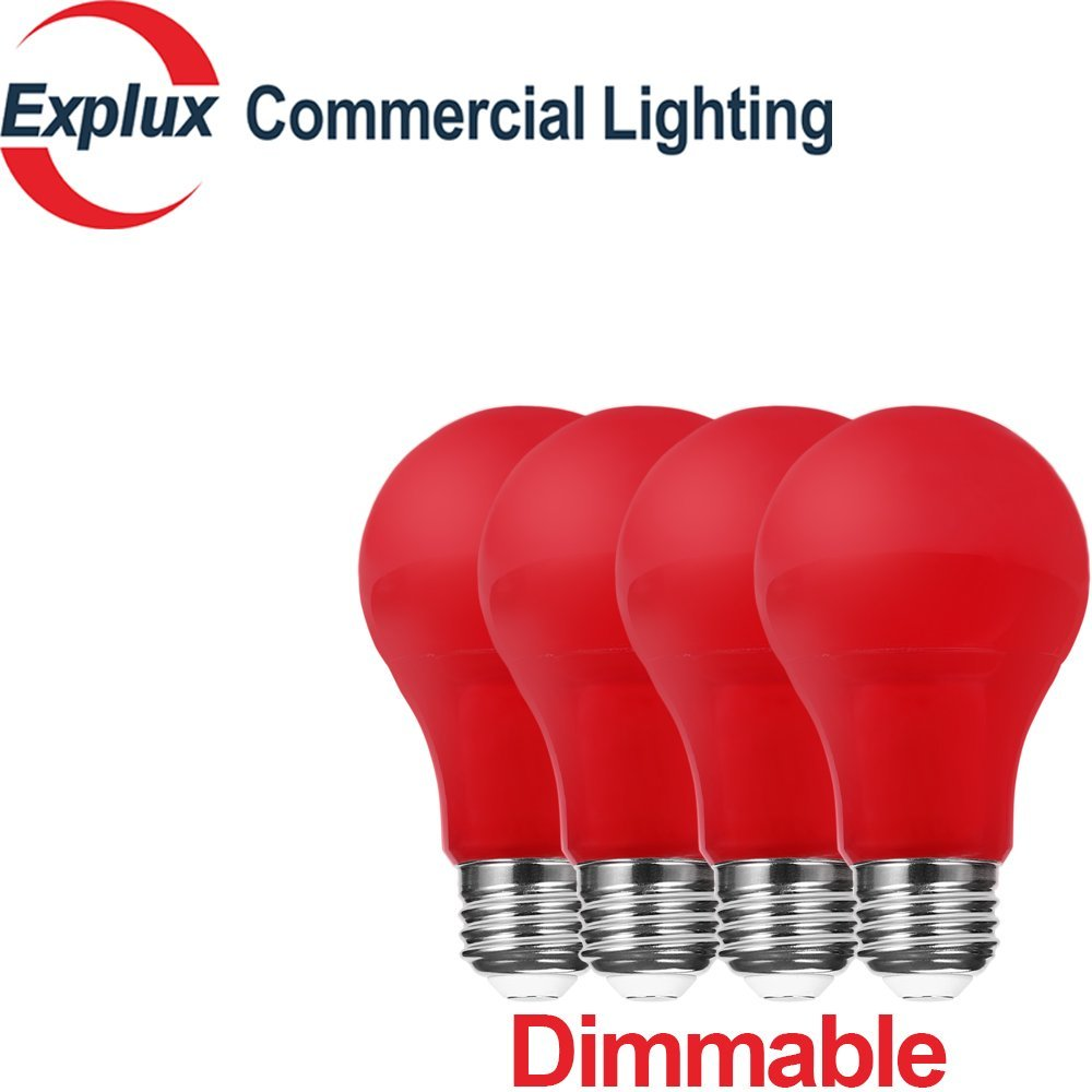 Dimmable Red A19 LED Bulbs, 60-watt Replacement High-Output Version, 5W Red LED A19 Light Bulbs, Red Color (Pack of 4)