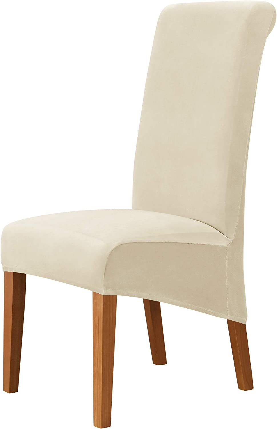 MILARAN Velvet Large Chair Covers for Dining Room, Soft Stretch Seat Slipcover for Large Dining Chair, Washable Removable Parsons Chair Protector,Set of 2,Cream