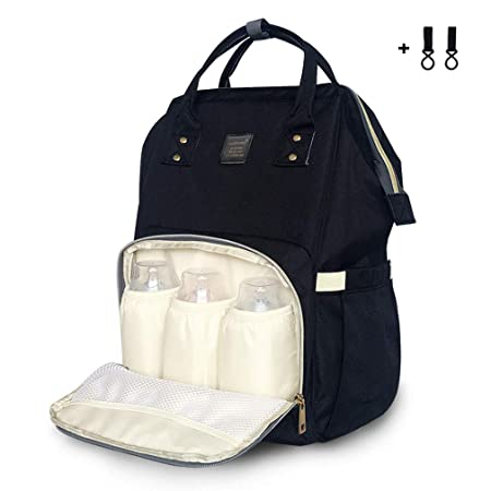Diaper Bag Waterproof Travel Mom Dad Baby Backpack Nappy Bag Multi Function Maternity Diaper Bag For Baby Care With Wide Shoulder Straps,Large Capacity,Black by Kazila