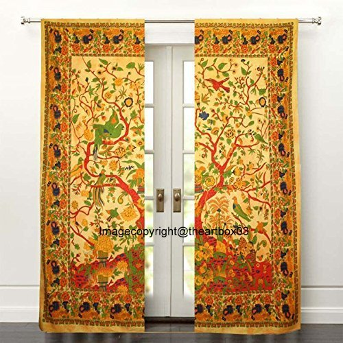 THE ART BOX Window Curtains Indian Window Drapes Set of 2 Tapestry Window Curtains Hanging Valances For Window Room Divider (Yellow Tree)