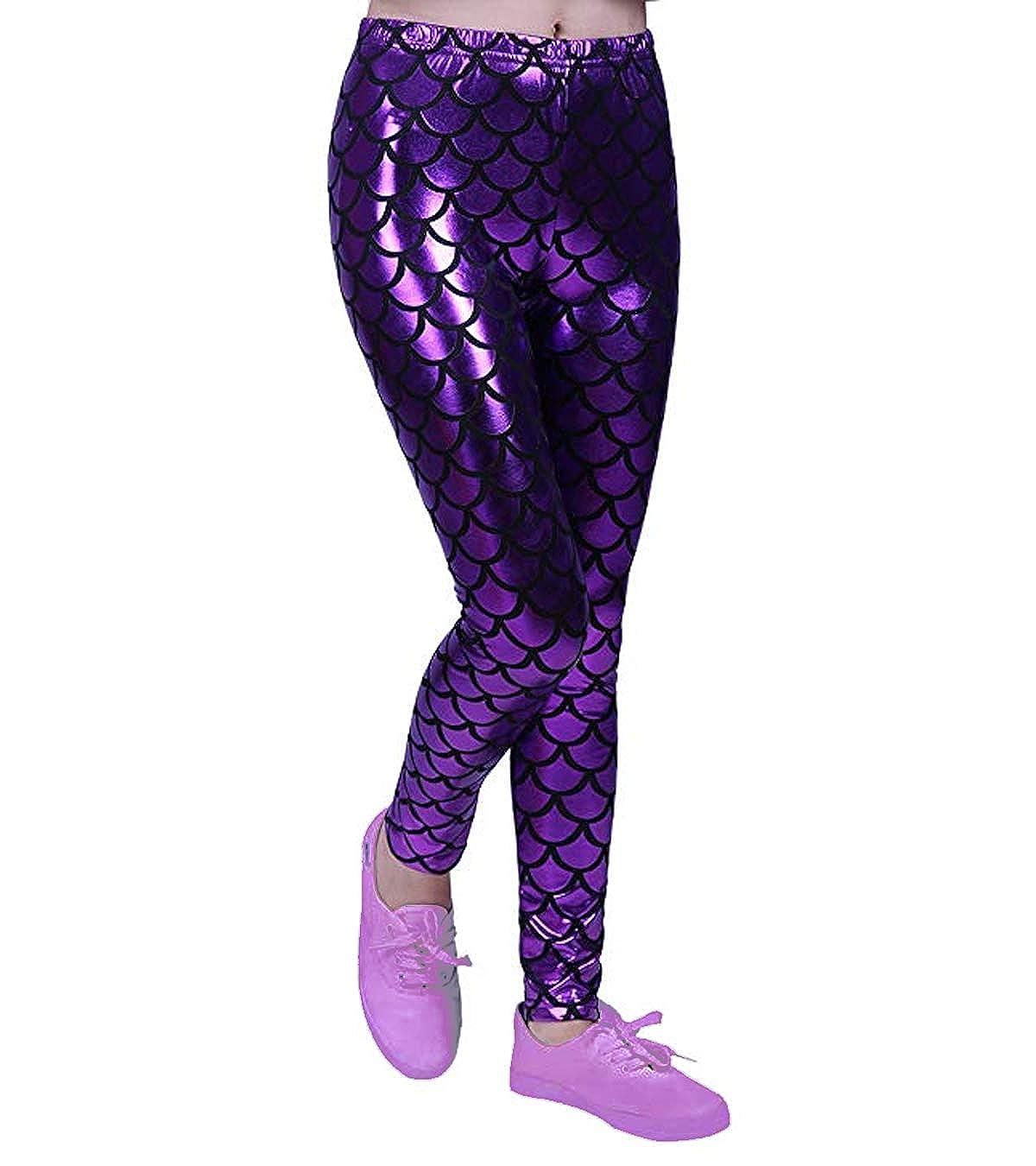 fashioncrazexx Girls Metallic Fish Scale Leggings Mermaid Kids Shiny Foil Childrens 3-13 Years