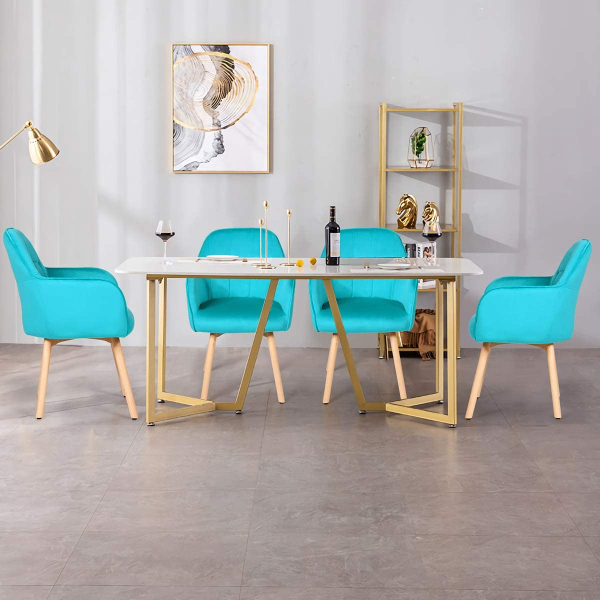Bedroom Non-Slip Foot Pads Comfortable Leisure Accent Chair for Living Room Giantex Modern Velvet Living Dining Room Accent Arm Chairs Set of 2 2, Turquoise Cute Chairs w//Solid Wood