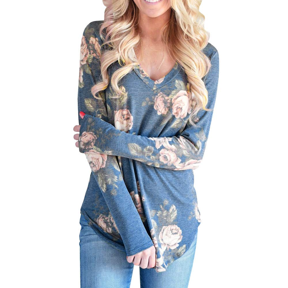 STORTO Women V-Neck Floral Printed Tops Casual Long Sleeve Elegant T-Shirt