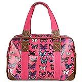 Miss Lulu Women's Oilcloth Travel Bag Butterfly Design (Plum L1106B PM)