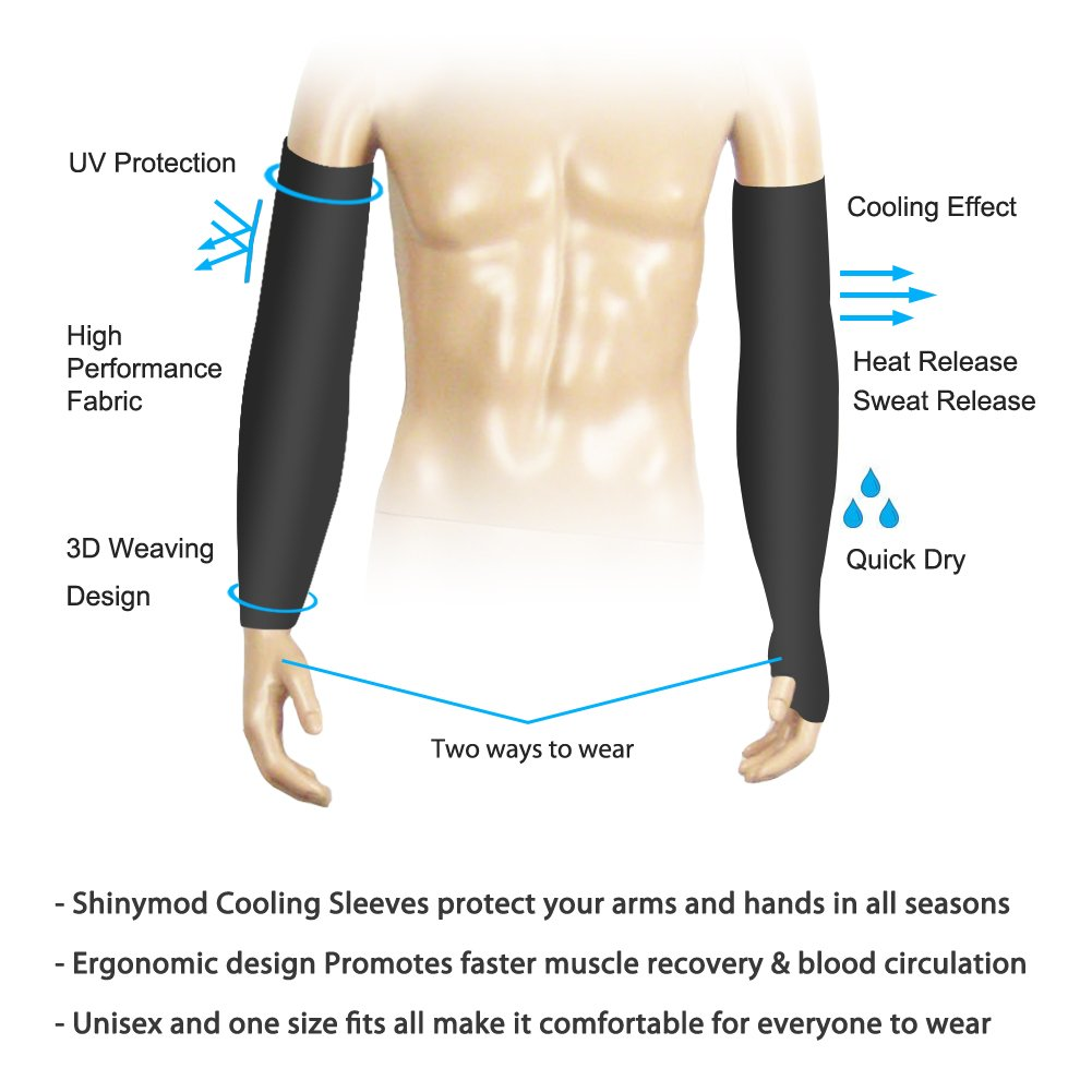 SHINYMOD UV Protection Cooling Arm Sleeves for Men Women Sunblock Cooler Protective Sports Running Golf Cycling Basketball Driving Fishing Long Arm Cover Sleeves (1 Pair Black) by SHINYMOD (Image #4)