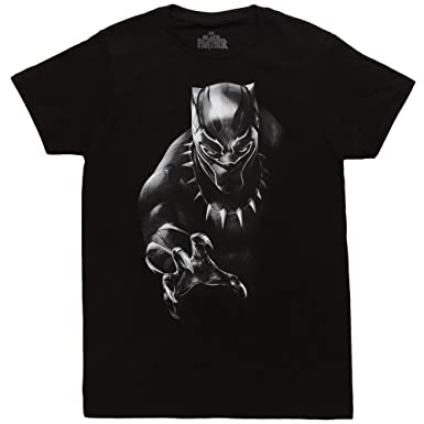 Amazon.com  Bioworld Black Panther Character Men s Black Tee  Clothing c9ea1386f