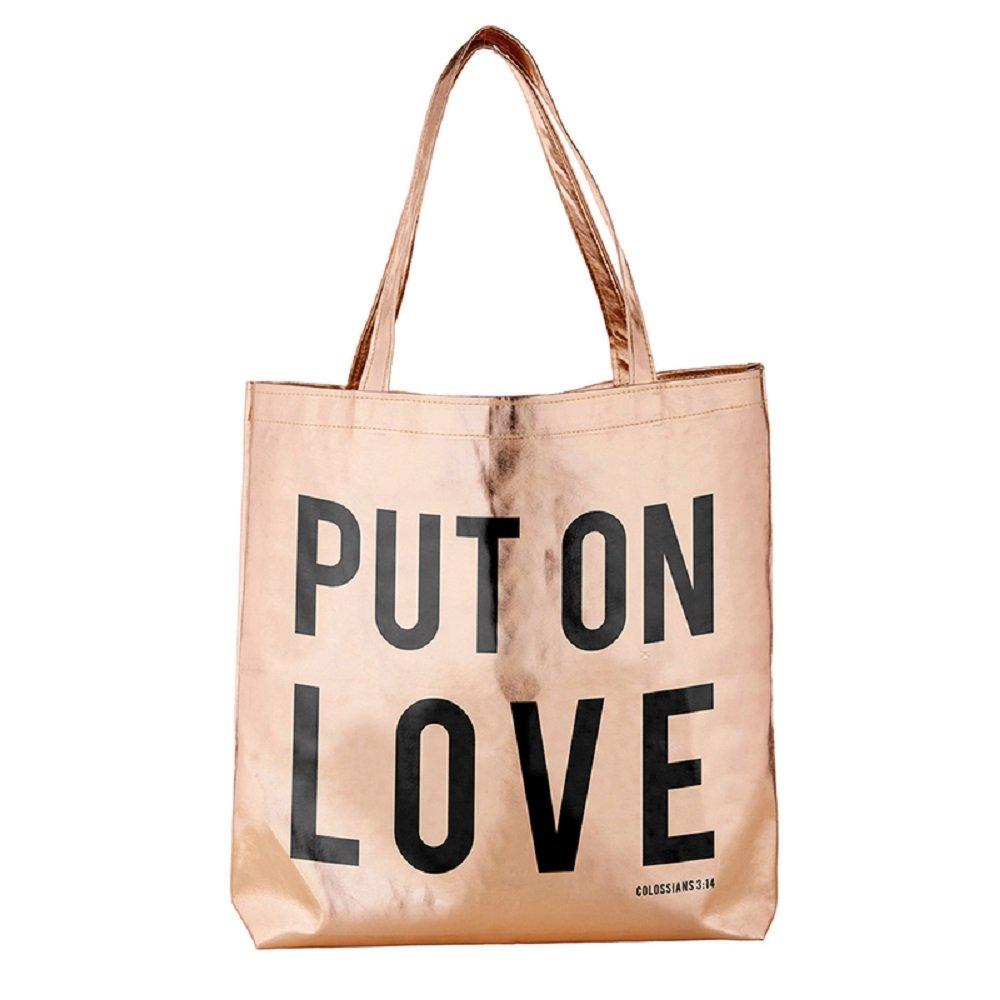Pack of 2 Put On Love Rose Gold Tote Bags. 16'' X 14.5''.