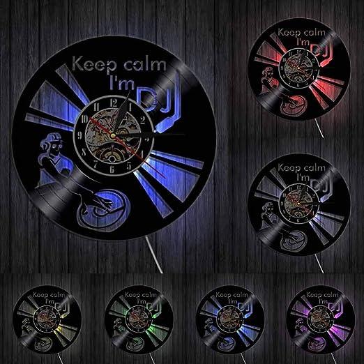 SSCLOCK Refrán Divertido Mantener la Calma Soy DJ Wall Art Reloj de Pared DJ Mixer Spinning Vinyl Record Player Tocadiscos Hip Hop Vinyl Record Clock: Amazon.es: Hogar