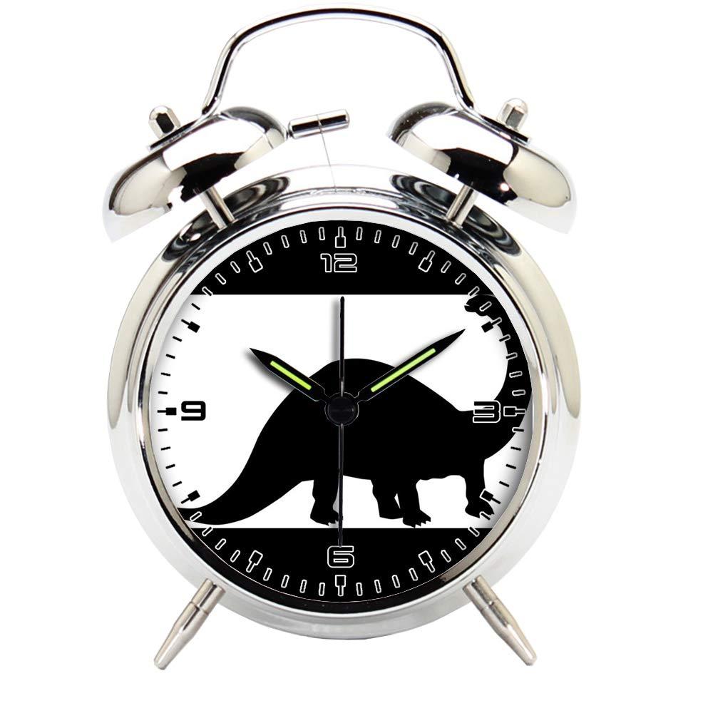Children's Room Silver Dinosaur Silent Alarm Clock Twin Bell Mute Alarm Clock Quartz Analog Retro Bedside and Desk Clock with Nightlight-204.30_Animal, Dinosaur, Fossil, Paleontology, Silhouette