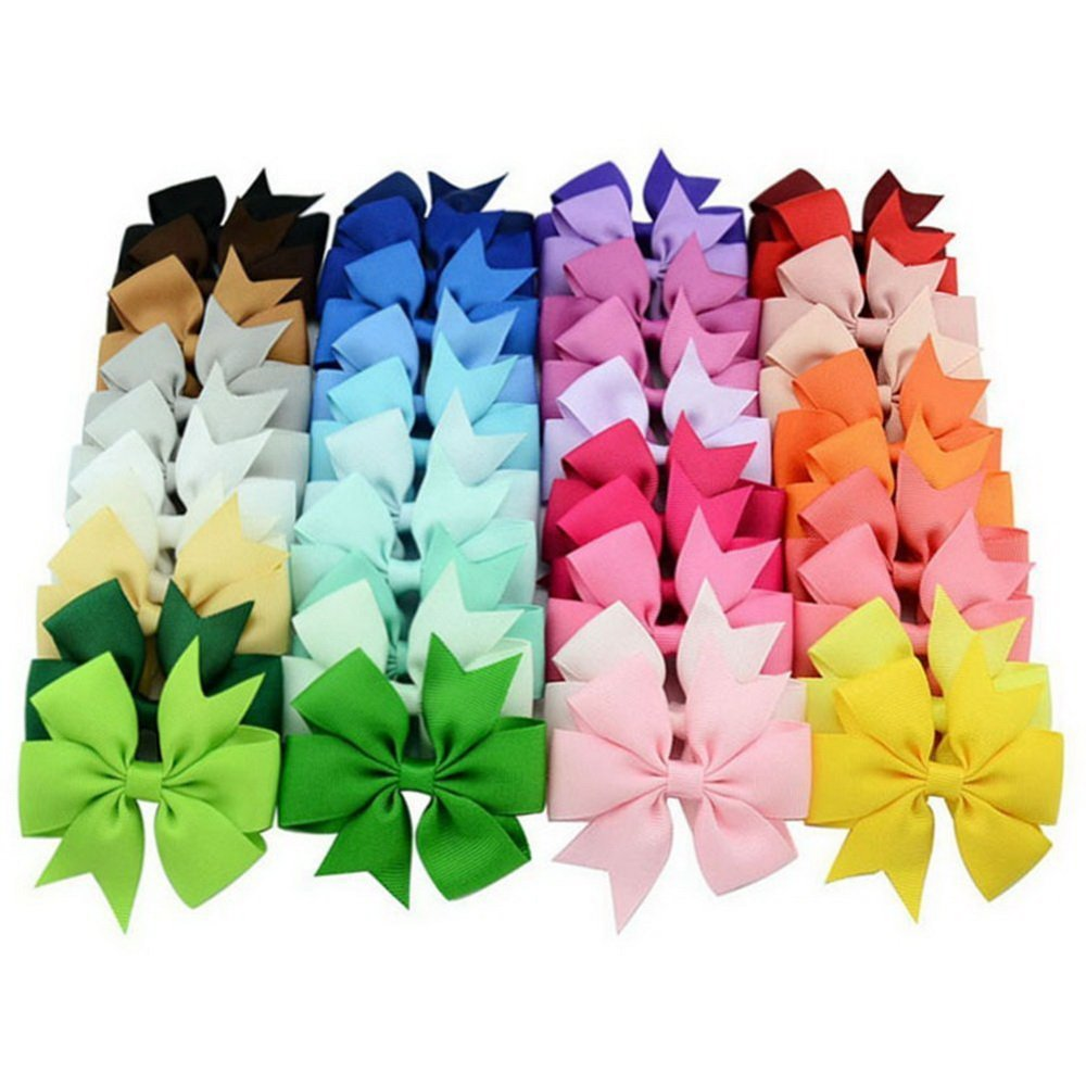 Boutique Grosgrain Ribbon Hair 3IN Bows clips For Baby Girls Teens Toddlers Newborn Set Of 40