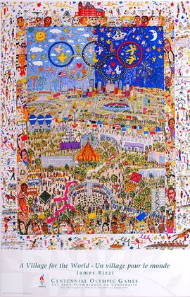James Rizzi Poster Kunstdruck Bild - A Village for the world - Kostenloser Versand