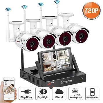 Swinway 720P HD Sistema de cámaras de seguridad inalámbrico NVR con 4 cámaras de vigilancia al aire libre 720P IP CCTV con monitor de 7