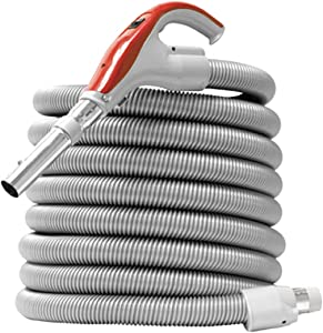 Nadair Universal Low-Voltage Hose for Central Vacuum, Wall, Swivel end-Cuff, 30 FT, GREY - ACCHO-30LV-SW-GY