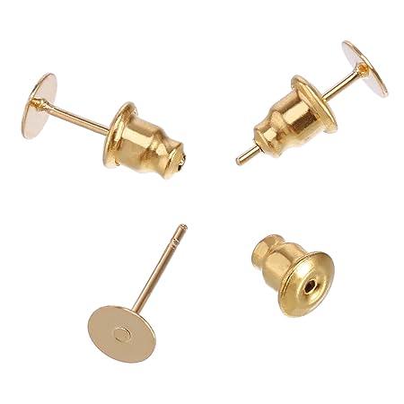 HooAMI 2pairs Sterling Silver Earrings Pins Flat Post Back Stud Findings 12x5mm gHDMCTu3