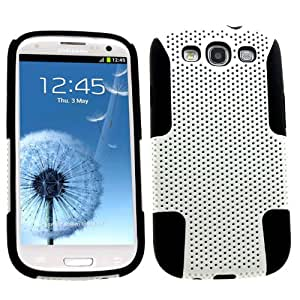 SAMRICK - Samsung i9300 Galaxy S3 SIII & Galaxy S3 SIII LTE 4G - Twin Fuzion Protection White Mesh Hard Cover Armour Shell Case & Black Soft Hydro Silicone Protective Case
