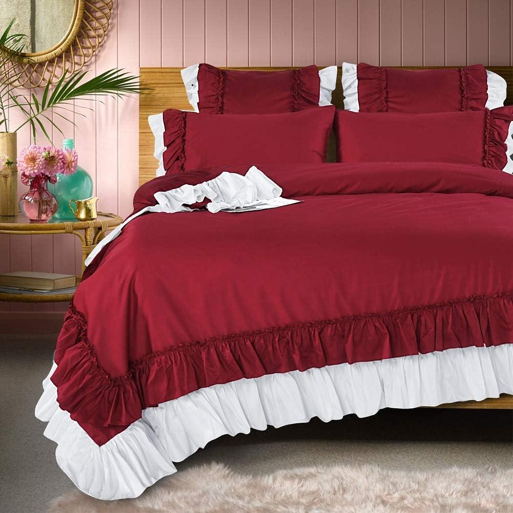 Queen's House Burgundy Duvet Cover Set Ruffle Bedding Set King Size