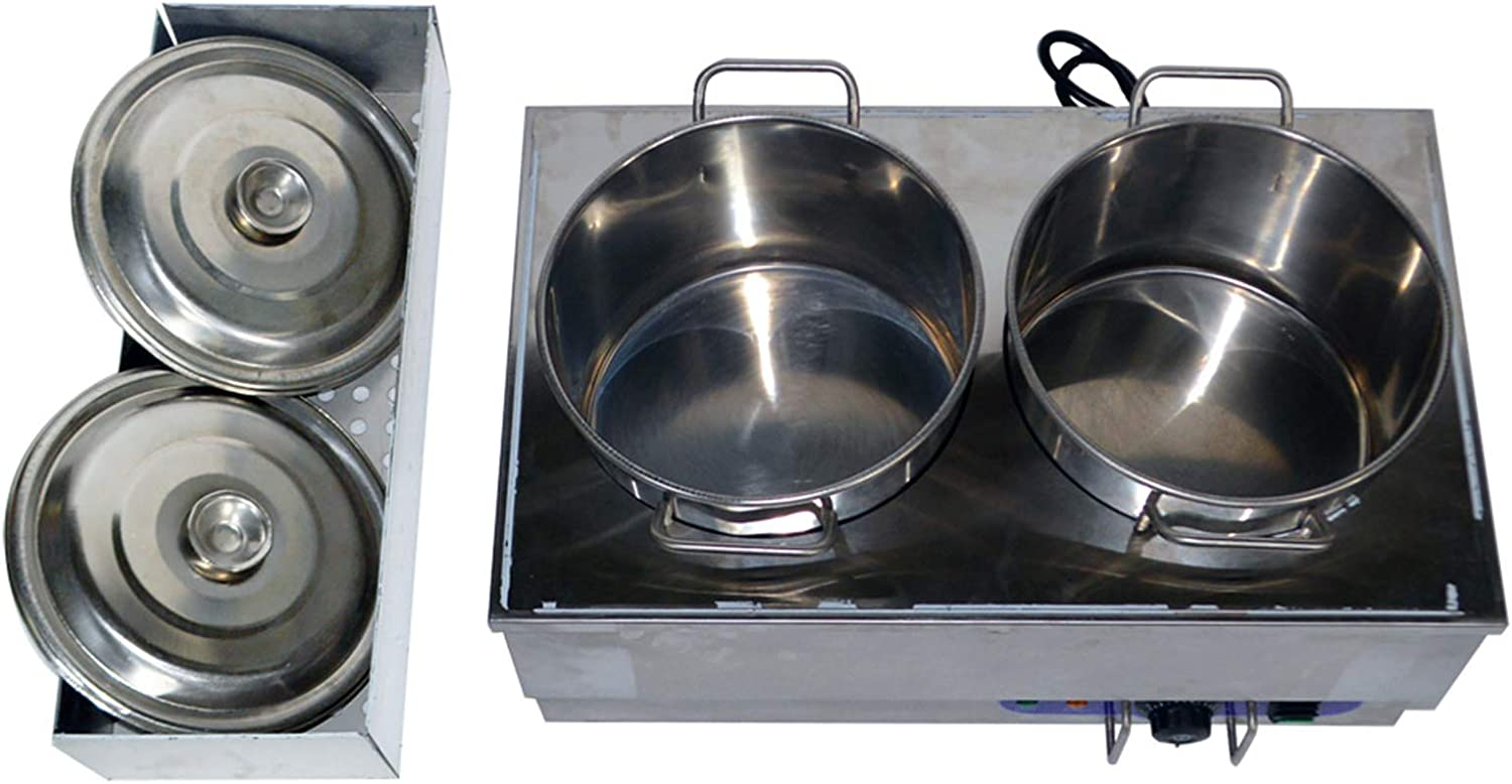 INTBUYING 2 Pan Food Soup Warmer Stove Bain Marie Commercial Canteen Buffet Steam Heater Stainless Steel with 2 Pots 110V 1500W