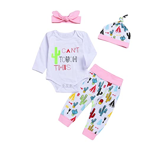 a4e186855b7 BELS Baby Girls Clothes Cactus Romper + Floral Pants + Headband + Hat  Outfits(White