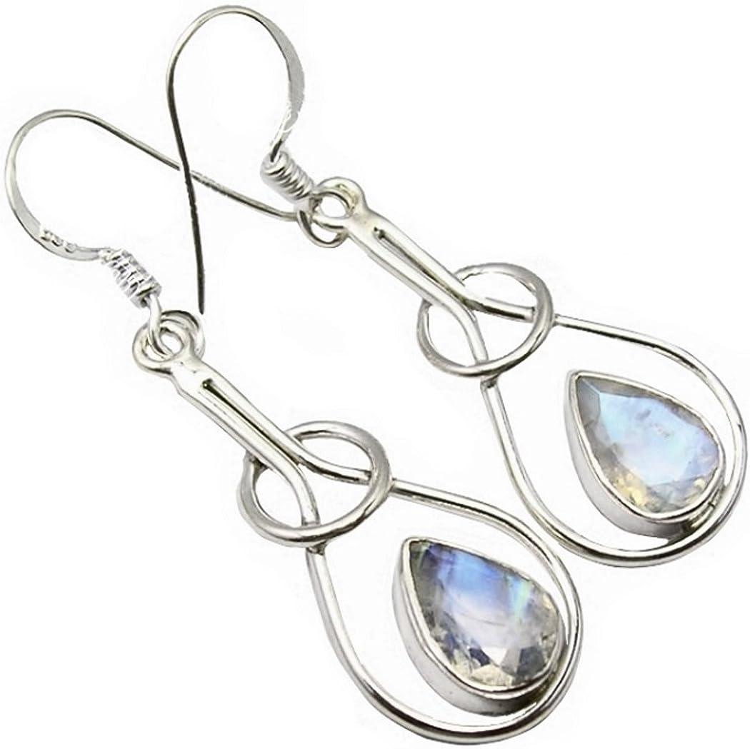Unique pendientes gotas para la mujer piedra de luna plata de ley 925 joyeria de calidad