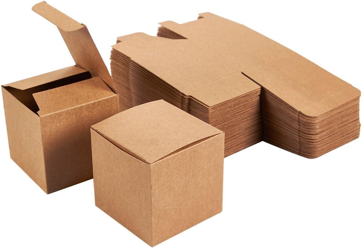 Cajas de regalo Kraft – 50 unidades de cajas de papel marrón con tapas, cajas de papel kraft para suministros de fiesta, cupcakes, regalos de boda, pequeñas, 3 x 3 x 3 pulgadas (7.62 x 7.62 x 7.62 cm)