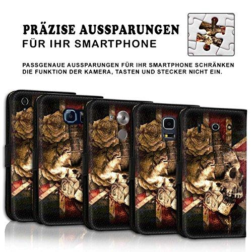 Wallet Book Style Flip Handy Tasche Case Schutz Hülle Schale Motiv Etui für Apple iPhone 4 / 4S - Design Flip MV273