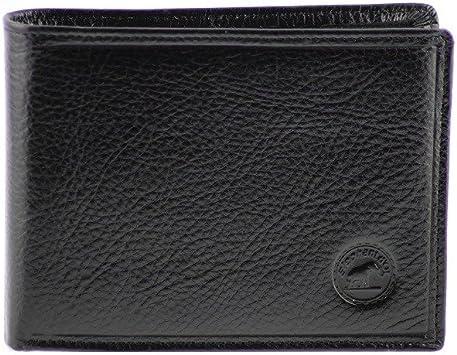 Portefeuille à l'italienne porte-monnaie homme cuir Eléphant d'OR Noir