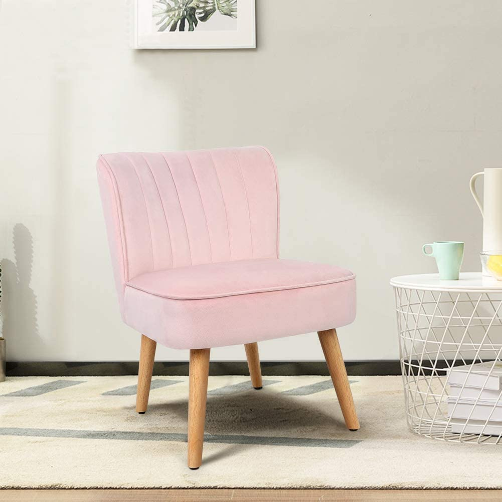 Occasional Chair Accent Chair For Living Room Bedroom Velvet Dining Chair Pink Comfy Chair With Solid Wood Legs 78 X 50 X 45cm Amazon Co Uk Kitchen Home