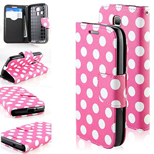 RANZ Stylish Design Deluxe PU Leather Folio Flip Book Wallet Pouch Case Cover For Kyocera Hydro Icon C6730 Boost Mobile / Kyocera Hydro Life C6530N T-Mobile/MetroPcs (Pink Polka Dots)