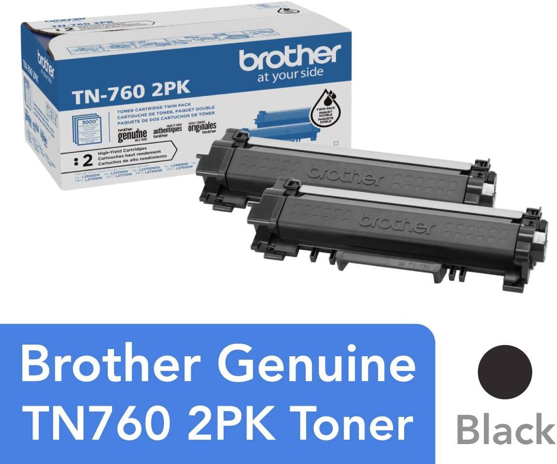 Brother Genuine High-Yield Black Toner Cartridge Twin Pack TN760 2Pk