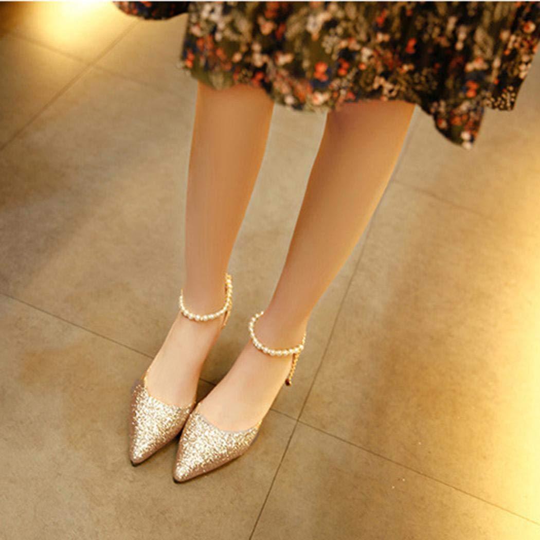 MinGe Women Casual Hook Loop Mid Heel Artificial Pearl Decoration Sandals Heeled Sandals