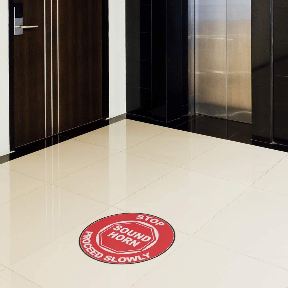 Stop Sound Horn Floor Decals Red Anti-Slip Round Shape Business Industrial Signs Stickers 36Inches Longer Side