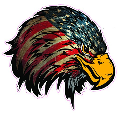 Weathered American Flag Eagle Head Version 2 Large Decal is 10