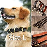 Brown Genuine Leather Dog Collar Dogs Boxer Bulldog Real Authentic Hard CowHide Collar Neck Buckle Size L