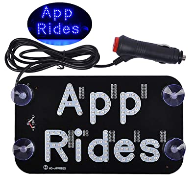 AutoEC APP RIDES LED Light Signs for Car, LED Sign Accessories Decal Sticker for Drivers, Taxi Sign Light with DC 12V Cigarette Lighter Inverter Hook on Windshield, Blue: Automotive