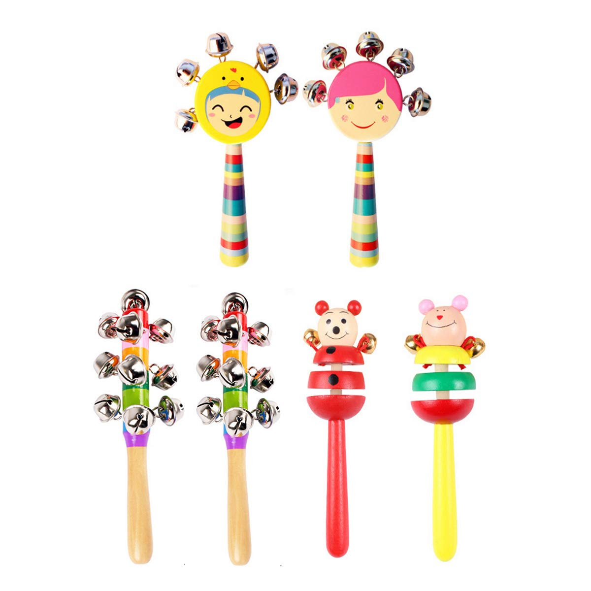 6 Pcs Vivid Color Rainbow Handle Wooden Bells Jingle Stick Shaker Rattle Baby Kids Children Musical Toys by CiCy