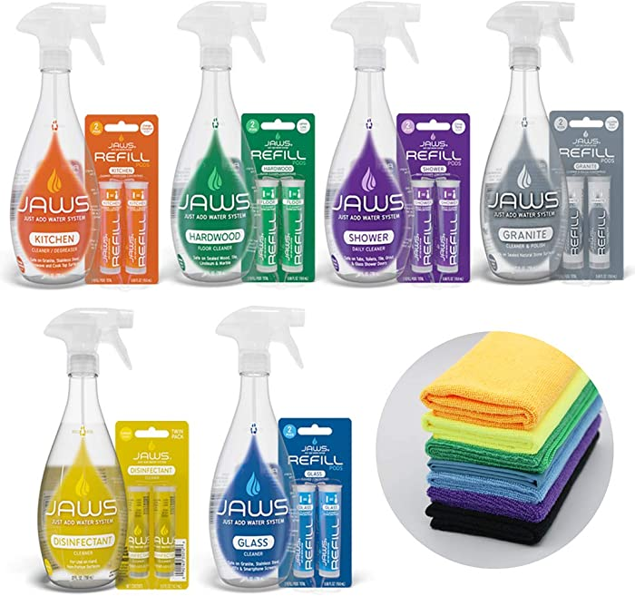 JAWS Ultimate Cleaning Kit | Kitchen, Glass, Shower, Granite, Hardwood and Disinfectant | 2 Refill Pods of Each & Microfiber Cloths Included. Refillable Cleaning Products.
