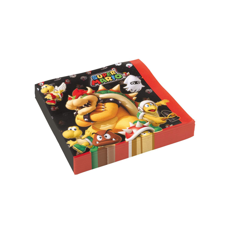 8 Assiettes, 8 gobelets, 20 Serviettes, 1 Nappe + 10 Bougies Magiques Kit Super Mario 8 Enfants Complet Anniversaire f/ête Garcons Filles