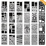 ONEST 24 Pack Journal Stencil Plastic Planner Stencils Journal/Notebook/Diary/Scrapbook DIY Drawing Template Stencil, 4x7 Inch