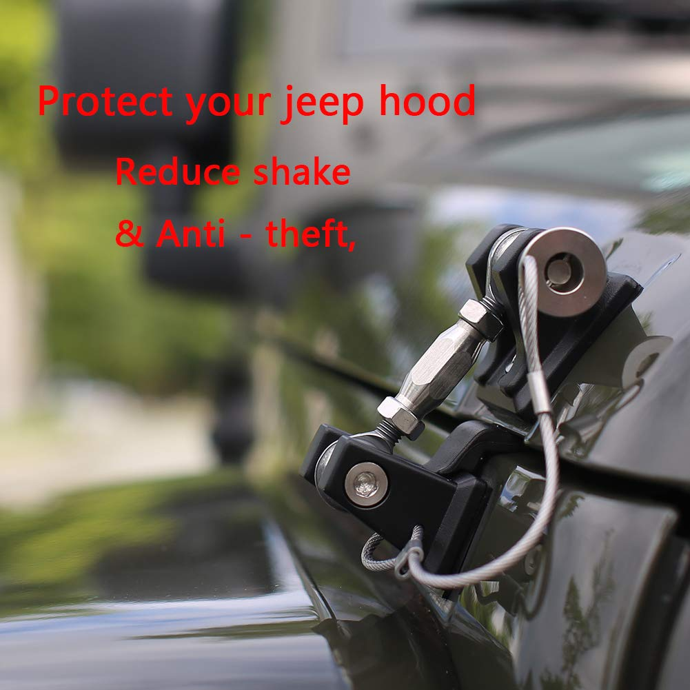 RT-TCZ Hood Latches Pins Anti-Theft Hood Catch Lock Kit for 1997-2006 Jeep Wrangler TJ 1 Pair)