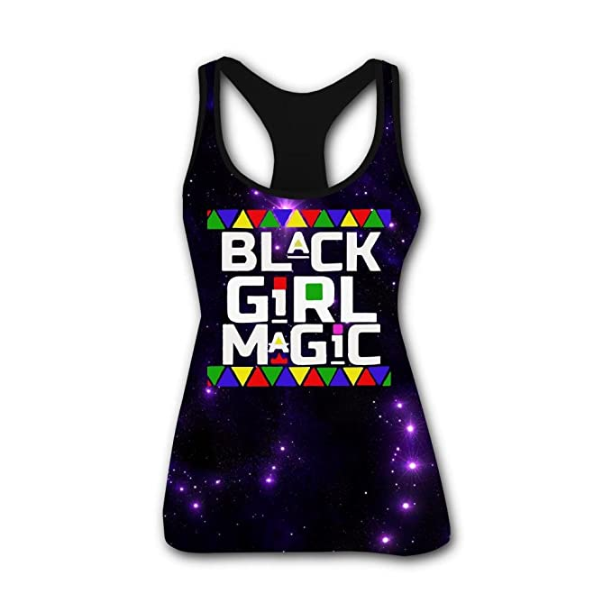 HNkiha Mens 3D Printed Tank Tops Black Magic Girl Vest Sleeveless Casual Shirt
