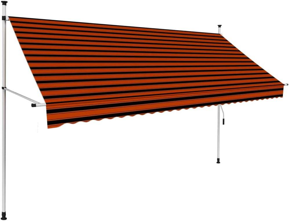 Tidyard Einziehbare Markise Klemmmarkise Gartenmarkise Gelenkmarkise Handbetrieben 200 cm 400 cm Orange und Braun 300 cm