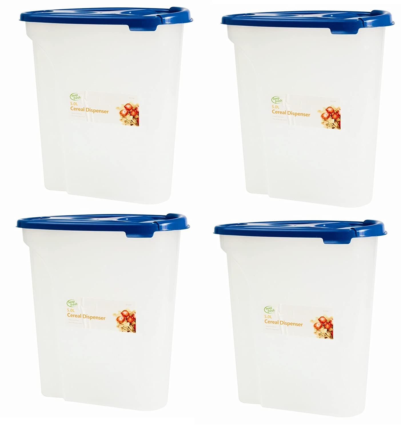 4 x 5L Store & Poor Cereal Dispenser Storage Box Lid Food Rice Pasta Container Tub Dry Bin