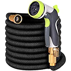 YEAHBEER 50 ft Garden Hose,Latex Core with 3/4 Solid Brass Fittings,Durable and Lightweight Expandable Water Hose,8-Mode High Pressure Spray Nozzles,Free Storage Bag + Hook