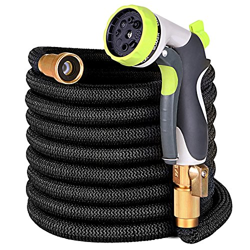 100ft Garden Hose – Upgraded Expandable Water Hose with Double Latex Core, 3/4″ Solid Brass Fittings,Extra Strength Fabric Flexible Expanding Hose with Zinc Alloy 8 Function Spray Nozzle+Hanger