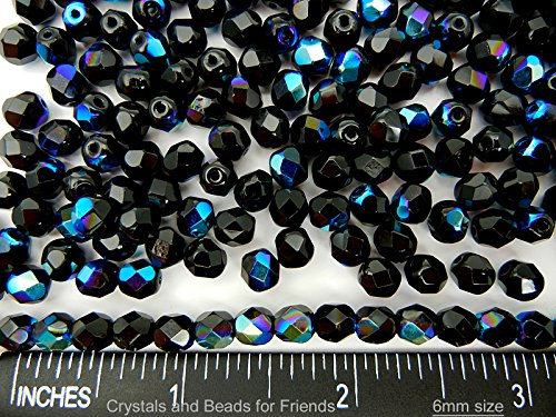 6mm, 300pcs, Jet AB coated, Preciosa Czech Fire Polished Round Faceted Glass Beads, black with Aurore - Jet Swarovski Vintage