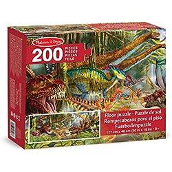 Melissa & Doug Mundo de Dinosaurios - Rompecabezas Gigante para Piso, (200 piezas, más de 1 metro de longitud).